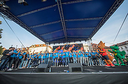 National volleyball team of Slovenia during the Day for the medals: Reception of Slovenian sport heroes on 30.9.2019 on Kongresni square, Ljubljana, Slovenia. Photo by Urban Meglič / Sportida
