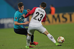 November 23, 2017 - Russia - midfielder Emiliano Rigoni of FC Zenit and defender Besir Demiri of FC Vardar during UEFA Europa League Football match Zenit - Vardar. Saint Petersburg, November 23,2017 (Credit Image: © Anatoliy Medved/Pacific Press via ZUMA Wire)