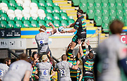 Northampton Saints flanker Tom Wood beats Sale Sharks No.8 Dan Du Preez to win a line-out during a Gallagher Premiership Round 13 Rugby Union match, Saturday, Mar. 13, 2021, in Northampton, United Kingdom. (Steve Flynn/Image of Sport)