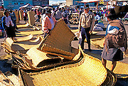ECUADOR, MARKETS, CRAFTS Saquisili markets; handwoven mats