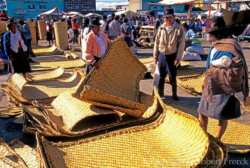 ECUADOR, MARKETS, CRAFTS Saquisili markets; handwoven mats