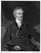 Thomas Young (1773-1829) English physicist and Egyptologist. Undulatory (wave) theory of light. Deciphering of Rosetta Stone. Engraving after portrait by Lawrence.