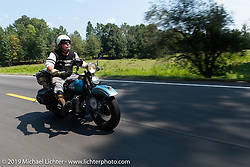 Chris Tribbey riding his 1947 Harley-Davidson WL Flathead in the Cross Country Chase motorcycle endurance run from Sault Sainte Marie, MI to Key West, FL. (for vintage bikes from 1930-1948). Stage-6 from Chattanooga, TN to Macon, GA USA covered 258 miles. Wednesday, September 11, 2019. Photography ©2019 Michael Lichter.