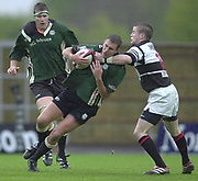 Oxford, 27/04/2002 Parker Pen Shield - Semi-Final<br />London Irish vs Pontypridd - Kassam Stadium - Oxford<br />Exiles Geoff Appleford , high tackle from Ceri Sweeney,
