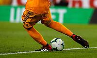 Olympiakos' Andreas Gianniotis takes a goal kick<br /> <br /> Photographer Alex Dodd/CameraSport<br /> <br /> UEFA Europa League - UEFA Europa League Qualifying Second Leg 2 - Burnley v Olympiakos - Thursday August 30th 2018 - Turf Moor - Burnley<br />  <br /> World Copyright © 2018 CameraSport. All rights reserved. 43 Linden Ave. Countesthorpe. Leicester. England. LE8 5PG - Tel: +44 (0) 116 277 4147 - admin@camerasport.com - www.camerasport.com
