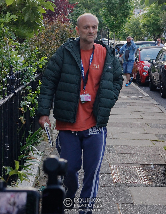 """London, United Kingdom - 24 May 2020<br /> Dominic Cummings arriving home. The scenes unfolding today at Dominic Cummings home in North London. Boris Johnsons political advisor spent the day in discussions with the Prime Minister after accusations of breaking the Corona virus lockdown. Neighbours and passers-by protested and shouted """"hypocrite"""", """"resign"""" and """"shame on you"""" when he returned to his house. London, England, UK.<br /> **VIDEO AVAILABLE**<br /> (photo by: HAUSARTS / EQUINOXFEATURES.COM)<br /> Picture Data:<br /> Photographer: Hausarts / Equinox Features<br /> Copyright: ©2020 Equinox Licensing Ltd. +443700 780000<br /> Contact: Equinox Features<br /> Date Taken: 20200524<br /> Time Taken: 17395460<br /> www.newspics.com"""