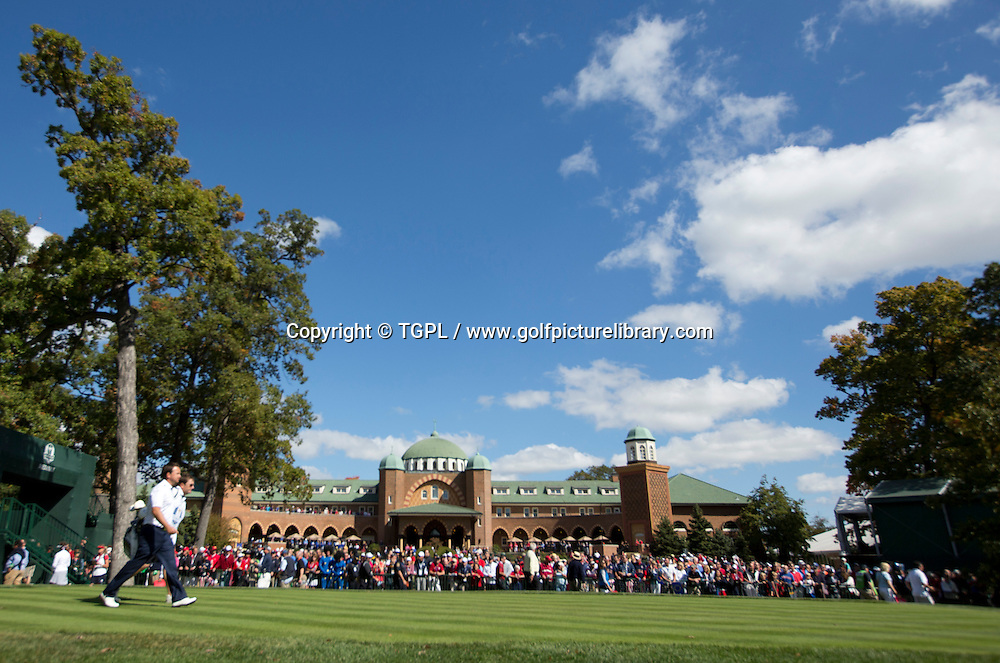 Graeme MCDOWELL (EUR) walks off the 1st tee during final day Singles,Ryder Cup Matches,Medinah CC,<br /> Medinah,Illinois,USA.