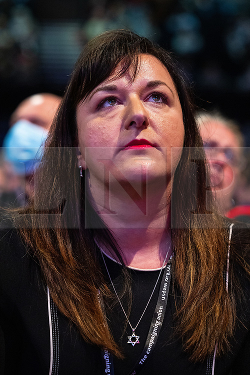 © Licensed to London News Pictures. 26/09/2021. Brighton, UK. RUTH SMEETH in the conference hall during a debate on new rules designed to counter anti-Semitism within the Labour Party. The second day of the 2021 Labour Party Conference , which is taking place at the Brighton Centre . Photo credit: Joel Goodman/LNP