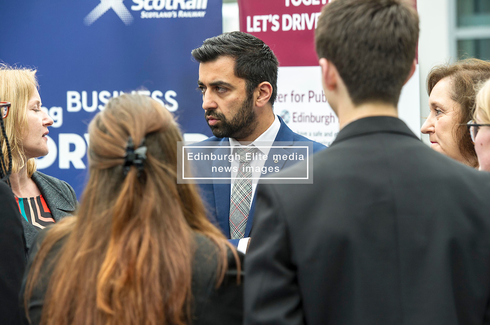 Pictured: <br /> Humza Yousaf, MSP, minister for Transport and the Islands joined the Edinburgh Community Safety Partnership as they officially launched Edinburgh's Transport Charter aimed at eradicating hate crime on all forms of transport in the city. Each of the organisations involved with the partnership will outline their approach to responding to incidents.  The launch will be followed by two days of action where representatives will be in transport hubs, promoting an understanding of hate crime, raising awareness of the charter and how to report unacceptable behaviours. Charter Representatives: Transport and Environment Convener, Lesley Macinnes, Alex Hynes from the Scotrail Alliance, Michael Powell from Edinburgh Trams, Jason Hackett from First Buses, Superintendent Richard Horan from Police Scotland, Chief Inspector Sue Maxwell from British Transport Police and Transport Scotland. Allister McKillop Vice Chair of Equality Transport Advisory Group (ETAG) and representatives from the Access Panel, Hollaback, SCOREScotland, NKS, Edinburgh Women's Interfaith Group and SESTran along with students from Currie High School<br /> <br /> Ger Harley   EEm 27 June  2017