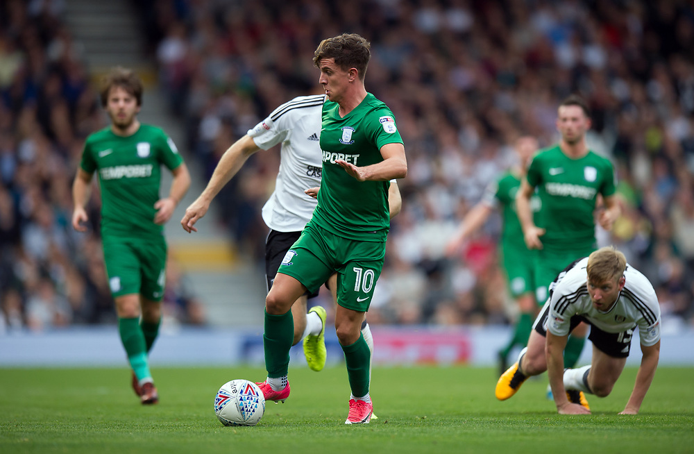 Preston North End's Josh Harrop holds off the challenge from Fulham's Tim Ream<br /> <br /> Photographer Ashley Western/CameraSport<br /> <br /> The EFL Sky Bet Championship - Fulham v Preston North End - Saturday 14th October 2017 - Craven Cottage - London<br /> <br /> World Copyright © 2017 CameraSport. All rights reserved. 43 Linden Ave. Countesthorpe. Leicester. England. LE8 5PG - Tel: +44 (0) 116 277 4147 - admin@camerasport.com - www.camerasport.com