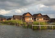 Pauck Par village literally stands in the water. All of the buildings are built on stilts in the middle of the massive Inle Lake in Shan state, Myanmar