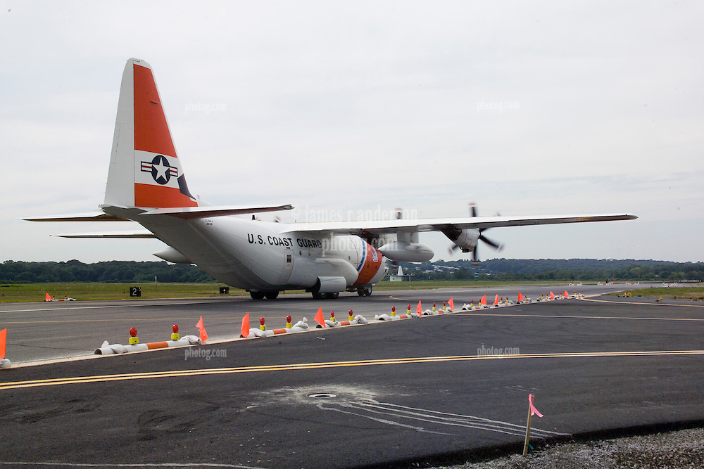 U.S. Coast Guard Lockheed Martin C-130 landing at Groton New London Airport. 29 July 2006