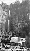 """1307C-87. """"Multnomah Falls"""" with lodge and parking lot"""
