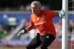 2 September 2017 - Charity Football - Game 4 Grenfell - Goalkeeper Jose Mourinho keeps his eye on the ball - Photo: Charlotte Wilson