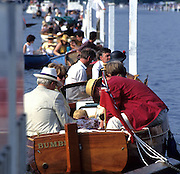 Henley, GREAT BRITAIN,   Spectators and tried to the course boom to watch the racing and enjoy a picnic on the River Thames, Henley Royal Regatta, Henley Reach, 2-6 July 1997, Henley, ENGLAND [Mandatory Credit, Peter Spurrier/Intersport-images] Messing about on the River 1997 Henley Royal Regatta, Henley, Great Britain