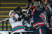 KELOWNA, CANADA - MARCH 26: Riley Stadel #3 of Kelowna Rockets gets in the face of Jermaine Loewen #32 of Kamloops Blazers on March 26, 2016 at Prospera Place in Kelowna, British Columbia, Canada.  (Photo by Marissa Baecker/Shoot the Breeze)  *** Local Caption *** Riley Stadel; Jermaine Loewen;