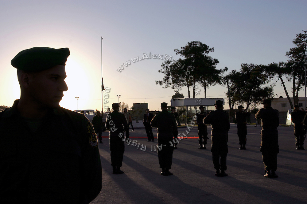 Palestinian soldier exercising untill dusk on the day prior of the first anniversary celebration of the death of former Palestinian leader Yasser Arafat, on Friday, Nov. 11, 2005, at the Palestinian Authority (PA) headquarter, last residence and burial site of Yasser Arafat, in the Palestinian capital Ramallah. Here a mausoleum and a museum in his honour will be built soon. **ITALY OUT**