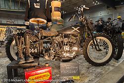 Shinsuke Takizawa's Jurassic Custom's Koslow Harley-Davidson OHV Flathead conversion at the Mooneyes Yokohama Hot Rod & Custom Show. Yokohama, Japan. December 6, 2015.  Photography ©2015 Michael Lichter.