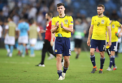 Scotland's Kieran Tierney acknowledges the fans after the UEFA Nations League Group C1 match at the Sammy Ofer Stadium, Haifa.
