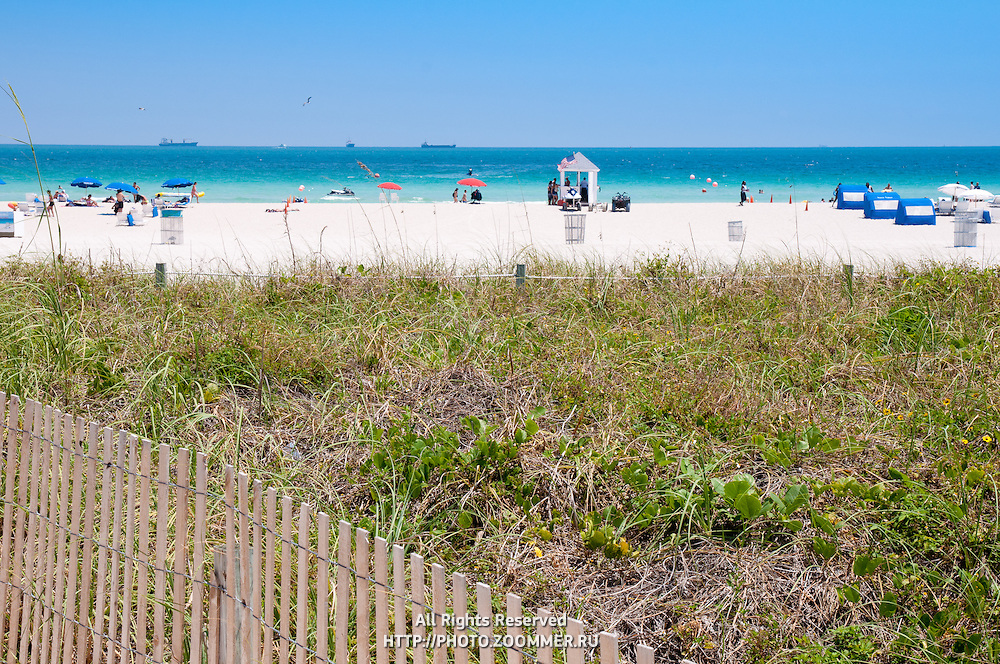 South Beach (SoBe) with people in Miami beach, Florida