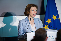 The forthcoming Airbus light defense Helicopter for military uses, 'The Guepard' has been presented in Marignane Airbus headquarters (close to Marseille) by Florence Parly, French minister of the armed forces, on May the 27, 2019. It will fly two years earlier from the initial schedule, 2026 instead of 2028. Airbus has presented the first full scale model this day. The inter army lightweight secured Helicopter program represent 2,000 Jobs for Airbus Helicopters. Photo by Clement Mahoudeau / ABACAPRESS.COM