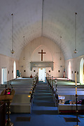 The original choir loft was closed in to conserve heat in the winter. St. Matthew and Barnabas, Hallowell, Maine.