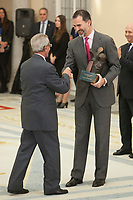 King Felipe of Spain awards Federico Martin Bahamontes during the 2013 Sports National Awards ceremony at El Pardo palace in Madrid, Spain. December 03, 2014. (ALTERPHOTOS/Victor Blanco)