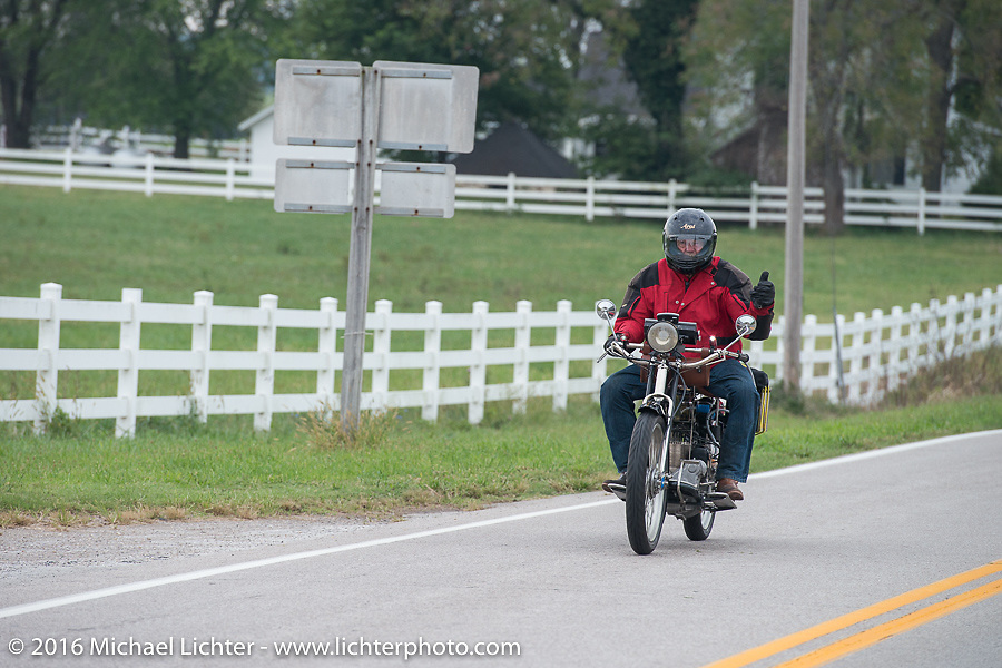 Byrne Bramwell of Ontario, Canada riding his 4-cylinder 1913 Henderson class-2 bike on Historic Route 66 during the Motorcycle Cannonball Race of the Century. Stage-7 from Springfield, MO to Wichita, KS. USA. Friday September 16, 2016. Photography ©2016 Michael Lichter.