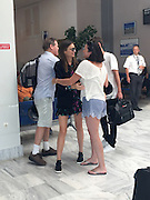 EXCLUSIVE<br /> meet the parents -<br /> Miranda Kerr lands at Kythera airport Greece with her mother Therese also pictured with her partner Evan Spiegel and father John ,Miranda introduces Evan Spiegel to her mum and dad<br /> ©Exclusivepix Media
