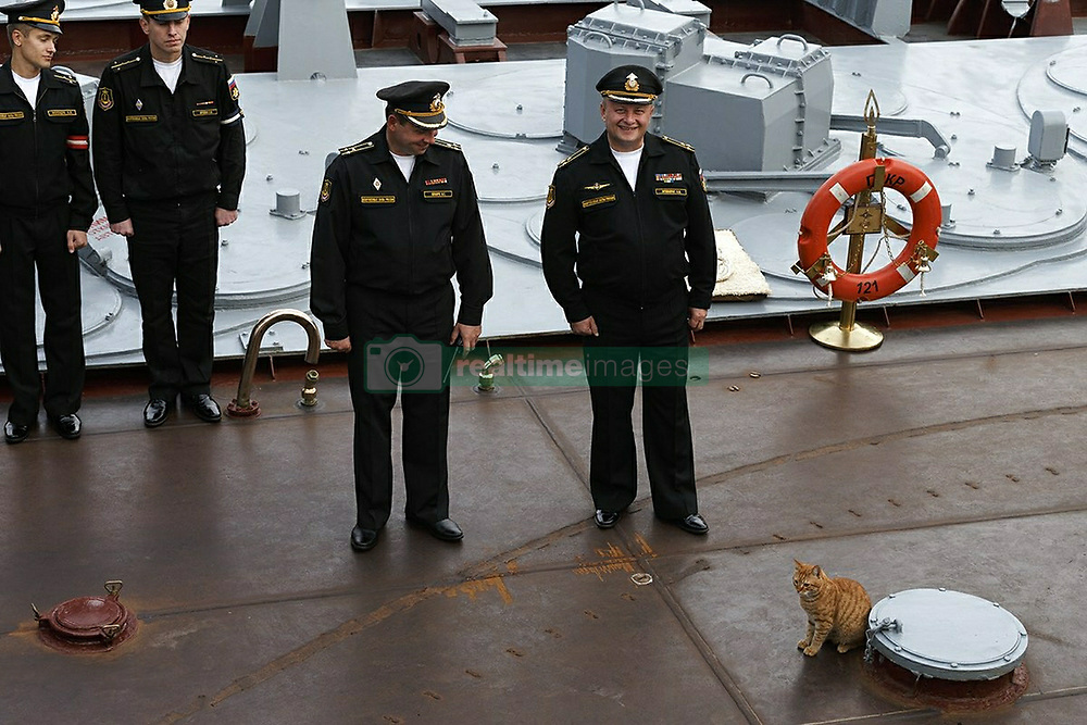 May 4, 2017 - Russia - Russia's Defense Ministry has published a photo of the first cat accompanying military voyage to Syria onboard the Moskva missile cruiser. Its name is Sergey Ivanovich. In picture: morning line-up onboard the Moskva missile cruiser: all crew is present! Photo from twitter.com/mod_russia (Credit Image: © Russian Look via ZUMA Wire)
