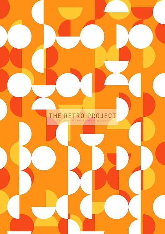 Retro Scandinavian Geometric Mid Century Sixties Circles Orange Pattern Illustration