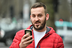 © Licensed to London News Pictures. 19/03/2019. London, UK. Yellow Vest protestor JAMES GODDARD arrives at Westminster Magistrates Court in London where he is charged with harassing MP Anna Soubry and two public order offences against a police officer.  Photo credit: Ben Cawthra/LNP