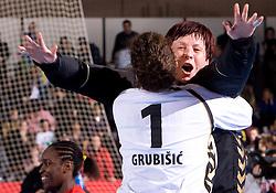 Goalkeepers of Krim Jelena Grubisic and Sergeja Stefanisin of Krim at handball match of Round 3 of Champions League between RK Krim Mercator and Hypo Niederosterreich, on November 8, 2009, in Arena Kodeljevo, Ljubljana, Slovenia.  Krim won 35:24. (Photo by Vid Ponikvar / Sportida)