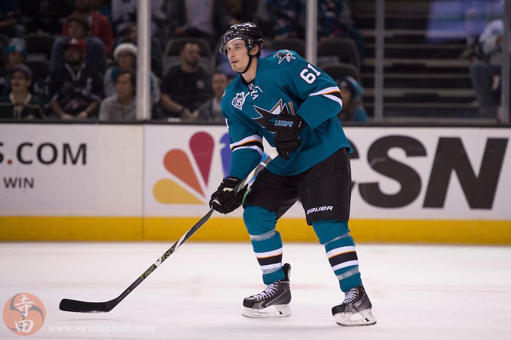 December 12, 2015; San Jose, CA, USA; San Jose Sharks defenseman Justin Braun (61) skates during the first period against the Minnesota Wild at SAP Center at San Jose. The Wild defeated the Sharks 2-0.