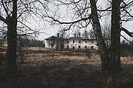 Viivikonna, Estonia - February 22, 2020: Viivikonna, in northeastern Estonia, was once a town with 2500 residents, its economy based on oil shale mining. Today it is a town with many abandoned buildings, and about 50 permanent residents.