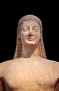 Naxian marble Ancient Greek Archaic statue of a kouros, found in Melos, circa 550 BC, Athens National Archaeological Museum. Cat no 1558.  Against black<br /> <br /> The slenderness and delicate grace of the statue is typical of the Cctladic island of .<br /> <br /> If you prefer to buy from our ALAMY STOCK LIBRARY page at https://www.alamy.com/portfolio/paul-williams-funkystock/greco-roman-sculptures.html . Type -    Athens    - into LOWER SEARCH WITHIN GALLERY box - Refine search by adding a subject, place, background colour, etc.<br /> <br /> Visit our ROMAN WORLD PHOTO COLLECTIONS for more photos to download or buy as wall art prints https://funkystock.photoshelter.com/gallery-collection/The-Romans-Art-Artefacts-Antiquities-Historic-Sites-Pictures-Images/C0000r2uLJJo9_s0