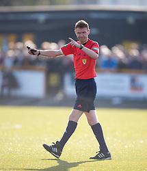 Ref Calum Murray.<br /> Alloa Athletic 0 v 1 Hearts, Scottish Championship played at Recreation Park, Alloa.