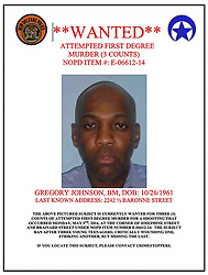 14 May 2014. New Orleans, Lousiana. <br /> Still on the run (at this time) 52 year old Gregory Johnson is wanted on 1st degree murder charges in connection to the death of teenage shooting victim Miqual Jackson. 14 year old Jackson was shot in the back of the head May 5th and died shortly afterwards. His 15 year old brother  Lamichael was hit in the leg and survived. <br /> Photo courtesy; New Orleans Police Department.<br /> Charlie Varley/varleypix.com