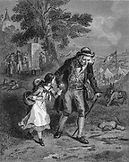 Fleeing , father and daughter running away Steel engraving from Godey's Lady's Book and Magazine, Vol 101 July to December 1880 in Philadelphia