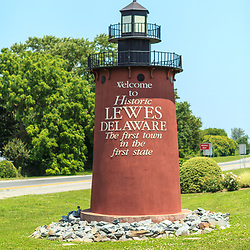 Lewes, DE / USA - June 24, 2013: The Welcome to Lewes Lighthouse sign at the town's entrance.