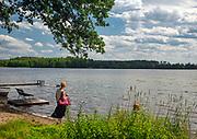 Kaszubski pejzaż jezioro we wsi Wiele na południowym krańcu Wdzydzkiego Parku K