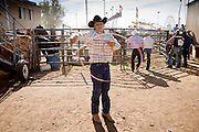 November 2, 2008 -- PHOENIX, AZ: A boy works on his roping skills at the Arizona High School Rodeo at the Arizona State Fair in Phoenix. Teams from across the state participate. The Arizona High School Rodeo Association sponsors a full season of high school rodeo that culminate in a championship rodeo in June.  Photo by Jack Kurtz / ZUMA Press