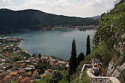 "Il lago di Garlate visto dalla collina nei pressi di Somasca, dove sorge il Castello dell'Innominato. La scalinata in primo piano è citata nei Promessi Sposi nell'episodio dei bravi che portano Lucia al castello...Garlate lake seen from the hill near Somasca where there is the ""Innominato"" castle. The stairs in the foreground are cited from Alessandro Manzoni in the episode of kidnap of Lucia, she was brought to the castle from the ""Bravi""."