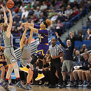 HARTFORD, CONNECTICUT- JANUARY 4: Alexandra Frazier #1 of the East Carolina Lady Pirates passes the ball while defended by Katie Lou Samuelson #33 of the Connecticut Huskies and Kia Nurse #11 of the Connecticut Huskies during the UConn Huskies Vs East Carolina Pirates, NCAA Women's Basketball game on January 4th, 2017 at the XL Center, Hartford, Connecticut. (Photo by Tim Clayton/Corbis via Getty Images)