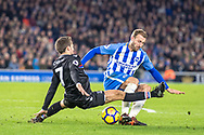 Brighton and Hove Albion (17) Glenn Murray, Crystal Palace #7 Yohan Cabaye during the Premier League match between Brighton and Hove Albion and Crystal Palace at the American Express Community Stadium, Brighton and Hove, England on 28 November 2017. Photo by Sebastian Frej.