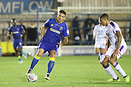 AFC Wimbledon striker Cody McDonald (10) dribbling during the EFL Trophy match between AFC Wimbledon and Luton Town at the Cherry Red Records Stadium, Kingston, England on 31 October 2017. Photo by Matthew Redman.