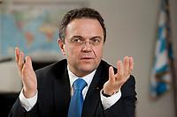 03 JAN 2011, BERLIN/GERMANY:<br /> Hans-Peter Friedrich, MdB, CSU, Vorsitzender der CSU Landesgruppe im Deutschen Bundestag, waehrend einem Interview, in seinem Buero, Jakob-Kaiser-Haus, Deutscher Bundestag<br /> IMAGE: 20110103-01-009