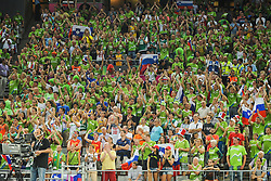 Supporters of Slovenia during basketball match between National Teams of Slovenia and Dominican Republic in Eight-finals of FIBA Basketball World Cup Spain 2014, on September 6, 2014 in Palau Sant Jordi, Barcelona, Spain. Photo by Tom Luksys  / Sportida.com <br /> ONLY FOR Slovenia, France