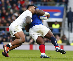 February 10, 2019 - London, England, United Kingdom - Manu Tuilagi of England  holds onto Demba Bamba of France.during the Guiness 6 Nations Rugby match between England and France at Twickenham  Stadium on February 10th, 2019 in Twickenham, London, England. (Credit Image: © Action Foto Sport/NurPhoto via ZUMA Press)