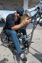 Randy Noldge of Cycle Showcase on the Annual Cycle Source and Michael Lichter Rides (combined this year) left from the new Broken Spoke area of the Iron Horse Saloon during the Sturgis Black Hills Motorcycle Rally. SD, USA.  Wednesday, August 10, 2016.  Photography ©2016 Michael Lichter.